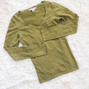 Cabi Pea Green V Neck Sweater